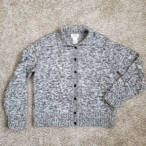 Talbots Marled Button Front collared Sweater